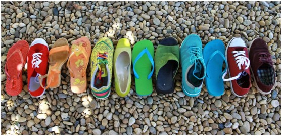 Different colourful shoes, like personalities